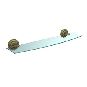 Que New Collection 24 Inch Glass Shelf, Antique Brass