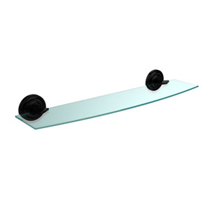 Que New Collection 24 Inch Glass Shelf, Matte Black