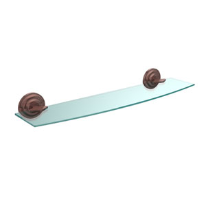 Que New Collection 24 Inch Glass Shelf, Antique Copper