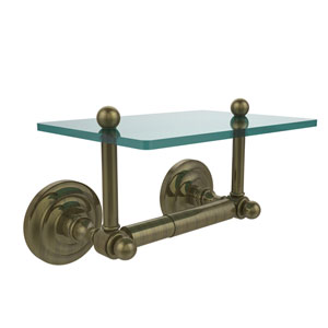 Que New Collection Two Post Toilet Tissue Holder with Glass Shelf, Antique Brass