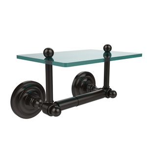Que New Collection Two Post Toilet Tissue Holder with Glass Shelf, Oil Rubbed Bronze