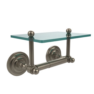 Que New Collection Two Post Toilet Tissue Holder with Glass Shelf, Antique Pewter