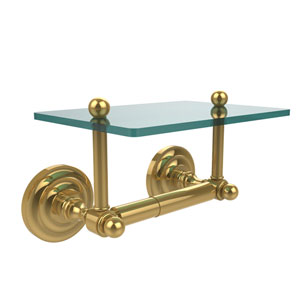 Que New Collection Two Post Toilet Tissue Holder with Glass Shelf, Unlacquered Brass
