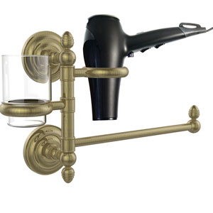 Que New Collection Hair Dryer Holder and Organizer, Antique Brass