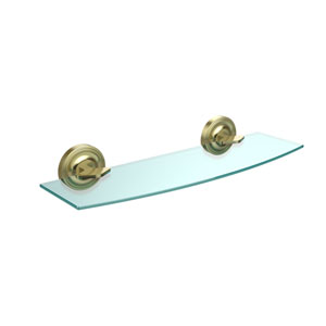 Regal Collection 18 Inch Glass Shelf, Satin Brass
