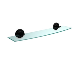 Regal Collection 24 Inch Glass Shelf, Matte Black