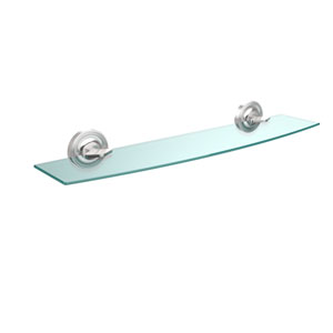 Regal Collection 24 Inch Glass Shelf, Satin Chrome