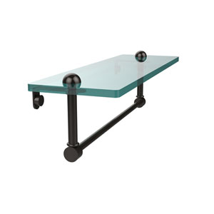 16 Inch Glass Vanity Shelf with Integrated Towel Bar, Oil Rubbed Bronze