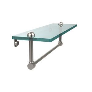 16 Inch Glass Vanity Shelf with Integrated Towel Bar, Satin Nickel