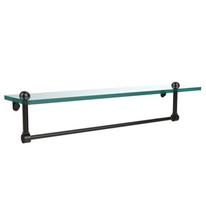 22 Inch Glass Vanity Shelf with Integrated Towel Bar, Oil Rubbed Bronze