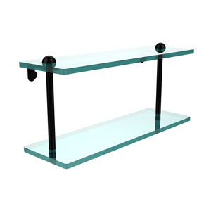 16 Inch Two Tiered Glass Shelf, Matte Black