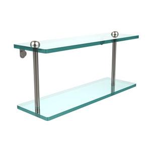 16 Inch Two Tiered Glass Shelf, Satin Nickel