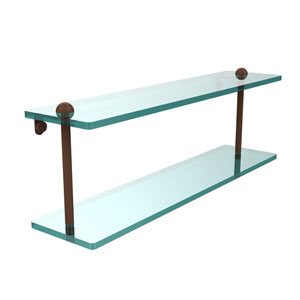 22 Inch Two Tiered Glass Shelf, Antique Bronze
