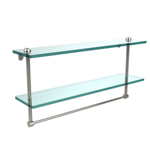 22 Inch Two Tiered Glass Shelf with Integrated Towel Bar, Polished Nickel