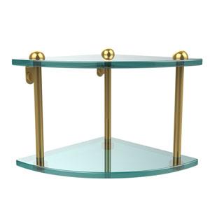 Two Tier Corner Glass Shelf, Polished Brass