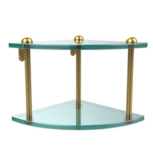 Two Tier Corner Glass Shelf, Unlacquered Brass