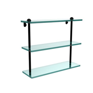 16 Inch Triple Tiered Glass Shelf, Matte Black