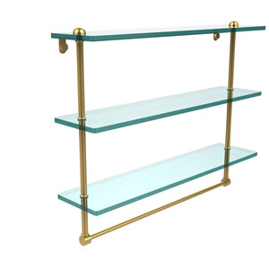 22 Inch Triple Tiered Glass Shelf with Integrated Towel Bar, Polished Brass