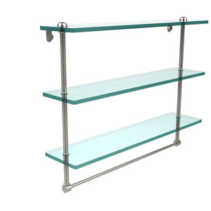 22 Inch Triple Tiered Glass Shelf with Integrated Towel Bar, Polished Nickel