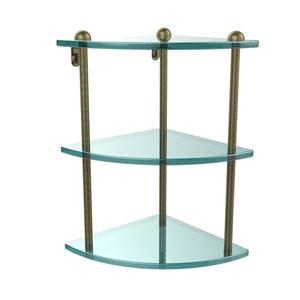 Three Tier Corner Glass Shelf, Antique Brass