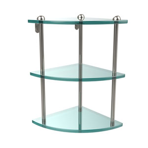Three Tier Corner Glass Shelf, Polished Nickel