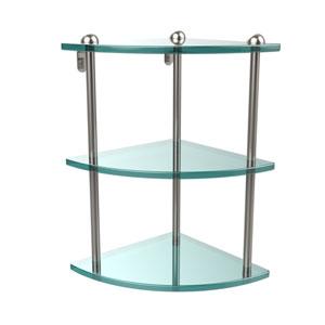 Three Tier Corner Glass Shelf, Satin Nickel