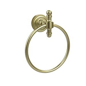 Retro-Dot Satin Brass Towel Ring