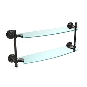 Oil Rubbed Bronze Retro-Dot 18-Inch Double Glass Shelf