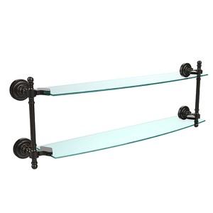 Oil Rubbed Bronze Retro-Dot 24-Inch Double Glass Shelf