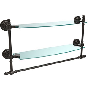 Oil Rubbed Bronze Retro-Dot 18-Inch Double Glass Shelf with Towel Bar