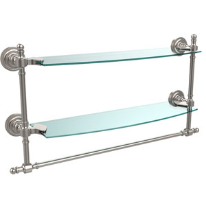 Satin Nickel Retro-Dot 18-Inch Double Glass Shelf with Towel Bar