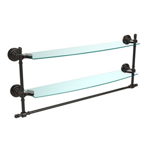 Oil Rubbed Bronze Retro-Dot 24-Inch Double Glass Shelf with Towel Bar