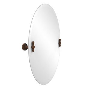 Frameless Oval Tilt Mirror with Beveled Edge, Antique Bronze