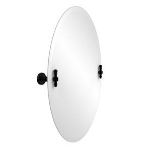 Frameless Oval Tilt Mirror with Beveled Edge, Matte Black