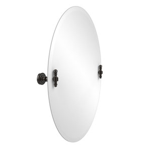 Frameless Oval Tilt Mirror with Beveled Edge, Oil Rubbed Bronze