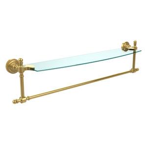 Retro Dot Polished Brass 24 Inch Single Shelf w/ Towel Bar