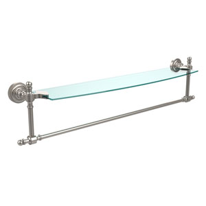 Retro Dot Satin Nickel 24 Inch Single Shelf w/ Towel Bar