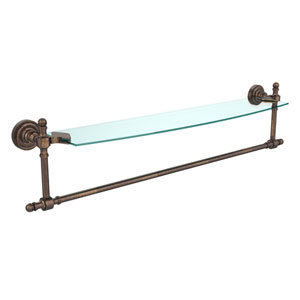 Retro Dot Venetian Bronze 24 Inch Single Shelf w/ Towel Bar