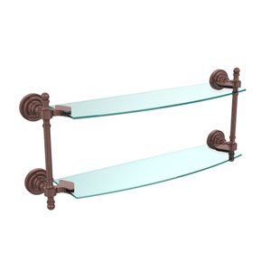 Retro Dot Antique Copper 18 Inch x 5 Inch Double Glass Shelf