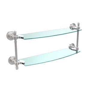 Retro Dot Satin Chrome 18 Inch x 5 Inch Double Glass Shelf