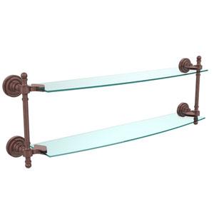 Retro Dot Antique Copper 24 Inch x 5 Inch Double Glass Shelf