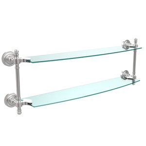 Retro Dot Satin Chrome 24 Inch x 5 Inch Double Glass Shelf