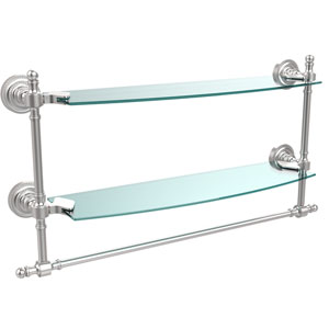 Retro Dot Satin Chrome 18 Inch Double Glass Shelf with Towel Bar