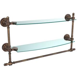 Retro Dot Venetian Bronze 18 Inch Double Glass Shelf with Towel Bar