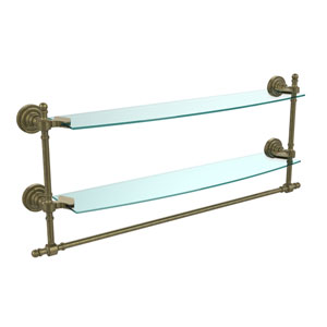 Retro Dot Antique Brass 24 Inch Double Glass Shelf with Towel Bar