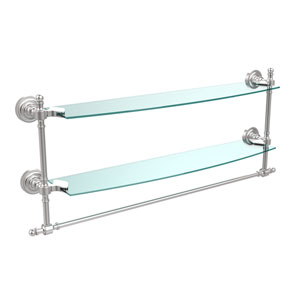 Retro Dot Satin Chrome 24 Inch Double Glass Shelf with Towel Bar