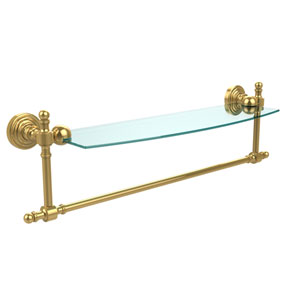 Polished Brass Retro-Wave 18-Inch Glass Shelf with Towel Bar