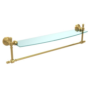 Polished Brass Retro-Wave 24-Inch Glass Shelf with Towel Bar