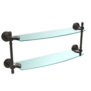 Oil Rubbed Bronze Retro-Wave 18-Inch Double Glass Shelf