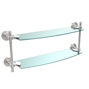 Polished Chrome Retro-Wave 18-Inch Double Glass Shelf